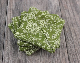 Fabric Drink Coasters | Set of 4 - Green Floral Print | Criss Cross Design