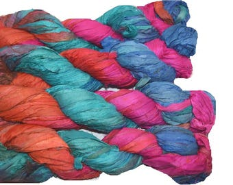 10 yards Red Blue Pink Sari Pure Silk Ribbon Yarn for tassels Fair Trade