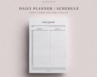 Daily Schedule Printable w/ Hourly Planner & Daily To Do List | Daily Agenda | Daily Planner Printable | Planner Inserts - Classic
