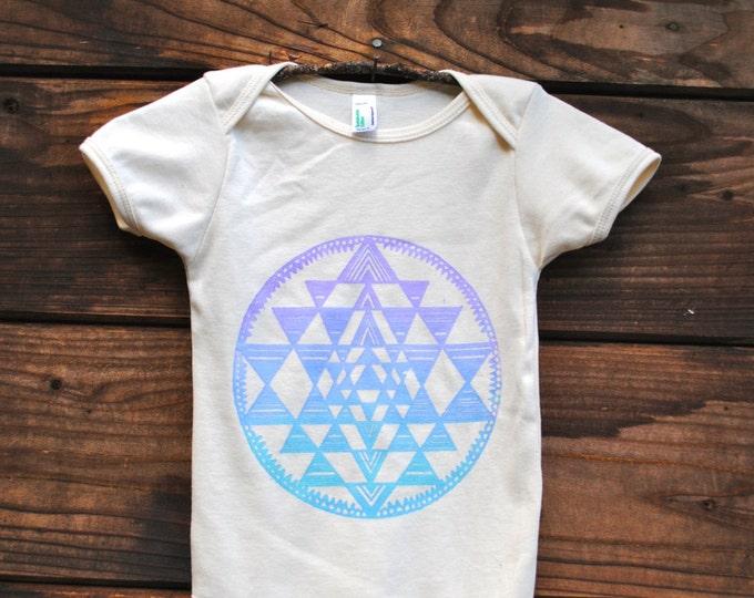 Sri Yantra Sacred Geometry Organic Baby Bodysuit