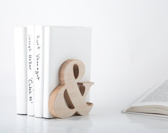 One Wooden bookend Ampersand // Functional decor for modern home // housewarming present // FREE SHIPPING // christmas gift for book lover