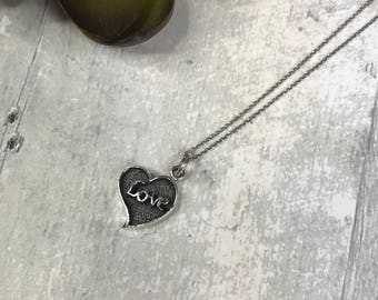 925 Sterling Silver Minimalist Necklace & Love Heart Charm