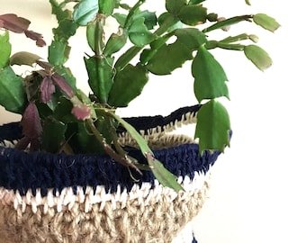 Navy and White Jute Basket