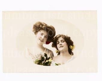 Charming Ladies - Old Postcard