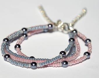 Friend bracelet Friendship bracelet Gray Rose Beaded bracelet Bead bracelet Simple bracelet Tiny bracelet Best friend gift for her for women
