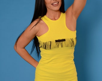 Crop Top/ Yellow Top/ Hand painted Top/ Fitted Top/ Tank Top by Yemania