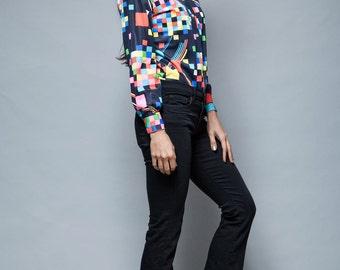 vintage 70s bodysuit op art long sleeves blouse colorful geometric print M L