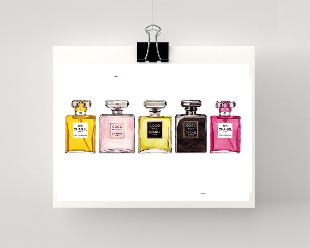Print Of Coco Chanel Perfume Bottles In A Row Watercolour