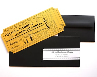 Old Hollywood, Art Deco, Gold Movie Ticket Invitation SAMPLE