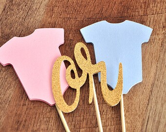 Gender Reveal Cake Topper.  Handcrafted in 2-5 Business Days.  Gender Reveal Ideas.