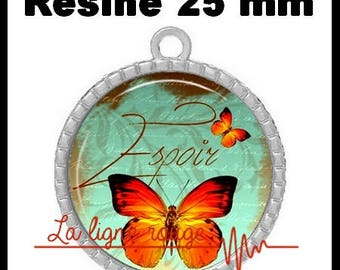Epoxy - hope (274) 25 mm round Cabochon pendant - Butterfly