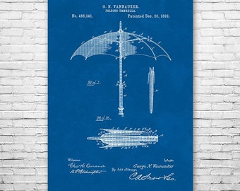 Folding Umbrella Poster Art Print, Patent Art, Gift, Patent Print, Patent Poster, Wall Art, Home Decor, Vintage Art