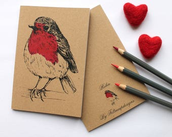 A6 Robin Notebook With Kraft Cover, Plain Pages, Blank Notebook