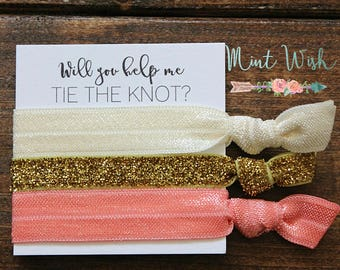 Bridesmaid Hair Ties | Bridesmaid Gift | Will You Help Me Tie The Knot | Gold Glitter + Ivory + Coral | Wedding Favor | Bridal Shower Favor