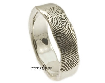Organic Edge Personalized Handcrafted Fingerprint Wedding Ring with Tip Print on the Outside in Sterling Silver