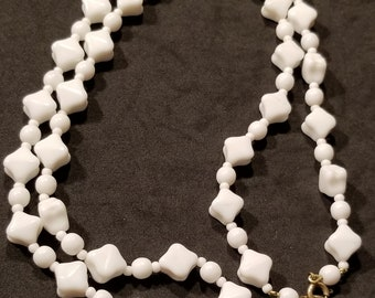 Vintage Milk White Square Bead Necklace