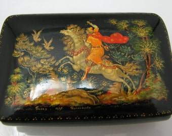 a979 Russian Palekh Tradition Painted Lacquer Box from 1995