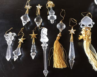 Victorian Style Faux Crystal Ornaments /  Victorian Tree / Faux Crystal Ornaments / Fancy Tassel Ornaments