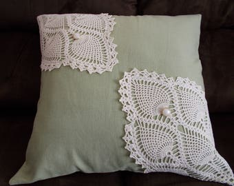16 x 16 Pillow Cover, Green & Beige Pillow Cover, Doily Pillow Cover, Upcycled Doily Pillow Cover, Envelope Style Pillow Cover