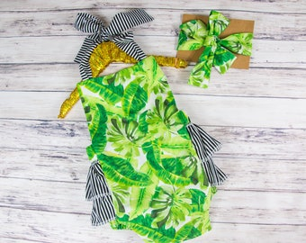 Green palm leaf romper- palm leaves and stripes, black and white stripes, tropical palm leaf outfit, beach romper, palm tree romper