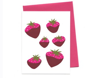 Chocolate Covered Strawberries, Everyday Greeting Card Set, Box of 8