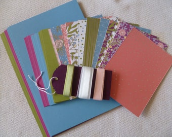 DIY Full Card Kit for 12 A2 Cards and Layers, Sweet Soireee Stampin Up! In Colors, Classic Colors, Pattern Papers, Ribbons