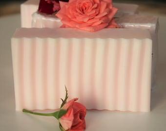 Pink Rose Soap - Handmade Shea Butter Soap Bar - Rose Soap - Gentle Glycerin Soap - Valentines Gift - Gift for Her