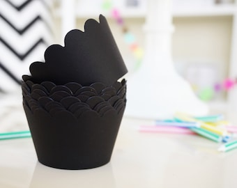 BLACK Cupcake Wrappers - Set of 24