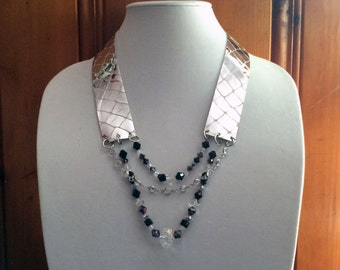 Leather + Swarovski Crystal Beads Necklace III.