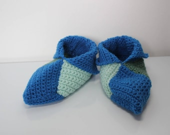 booties in blue and green crochet wool size 37-38