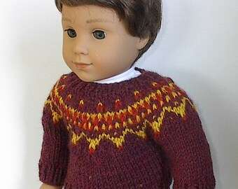 "18"" Doll Clothes Knit Sweater Buttons in Front or Back in Maroon, Burnt Orange and Gold Fair Isle Design handmade to Fit AG Boy Doll Logan"