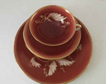 Furstenberg Germany Hand Painted Teacup, Saucer and Dessert Plate
