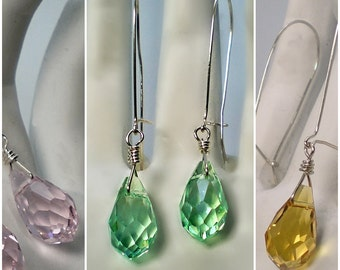 Long Kidney-back Teardrop Faceted Glass Earrings Wire wrapped in Sterling Silver; Green Pink Brown Shiny Glass Drop earrings; Gift for her
