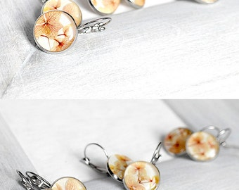 Wedding flowers earrings for birthday gifts Real flowers jewelry Unique earrings bride Peach jewelry Love earrings girlfriend Gift for lady
