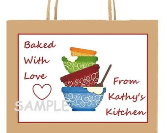 18 Personalized baking stickers,labels,baked with love,baked by,food,kitchen,baked for,baked just for you,tags,cooking,CUSTOM MADE