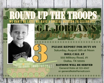 Camo Printable Invitation, Camoflauge Personalized Birthday Invite, Little Green Army Men