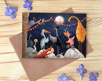 Moonlit Wedding Greetings Card, Stalk Wedding Card, Bird Character Card
