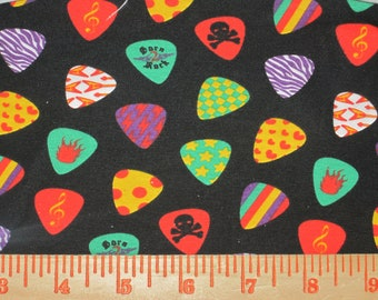 Rock n Roll Guitar Picks on Cotton Lycra Knit FAbric