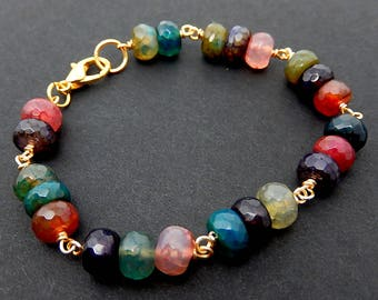 Rainbow Quartz Bracelet, MultiColor Stone, Gold Wire Wrapped Jewelry