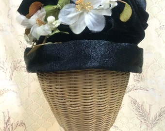 Vintage 1950s Martha Todd Black Hat with flowers