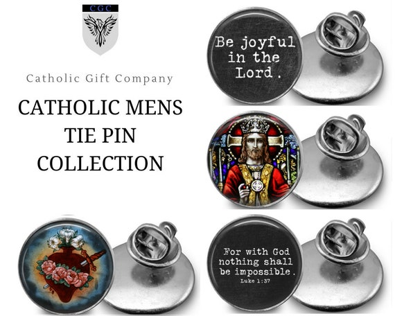 Catholic Tie Pin - One inch tie tacs -CATHOLIC MENS COLLECTION - Choose one or the whole set