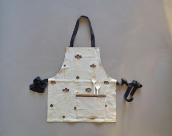 full brown floral apron - sand brown grey floral cotton fabric apron - mothersday gift - fully lined - foodie gift - rustic kitchen gift