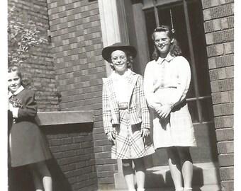 "Vintage Snapshot ""Brand New Roller Skates"" School 1942 Found Vernacular Photo"