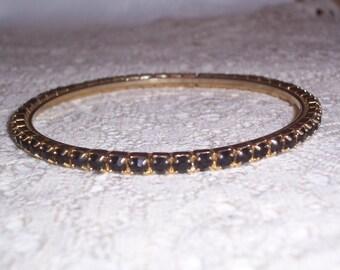 Vintage Blue Rhinestone Bangle Bracelet