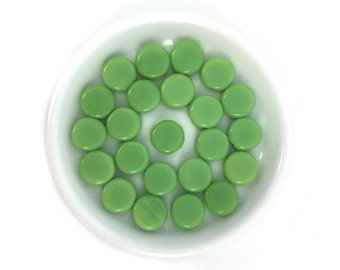Green Coin Bead, Czech Glass Bead, Two Hole, Flat Round Bead, Pressed Bead, Bohemian, Spacer, Bulk, Wholesale, 50pcs, 1033F