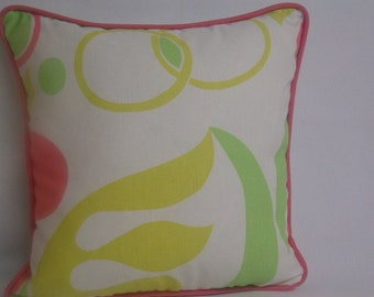"""Corded decorative pillow, 14"""" square, large print, citrine, lime green, coral, white"""