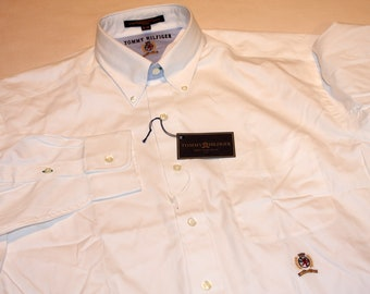 Tommy Hilfiger Eighties Two Ply Pinpoint Crest White 16 1/2 - 34 Button up Shirt Vintage 1990s