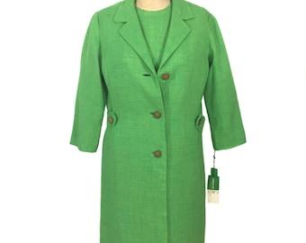 vintage 1950's green dress set / Leslie Fay / rayon / dress jacket coat / deadstock / women's vintage dress set / tag size 10