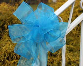 Wedding/ Pew Bows set of 6, teal/aqua Blue