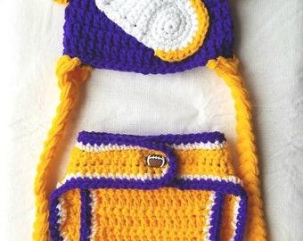 Minnesota Vikings hat and diaper cover